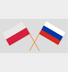 Poland and russia crossed polish and russian flags vector