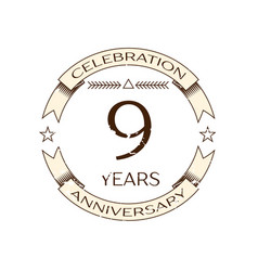 realistic nine years anniversary celebration logo vector image