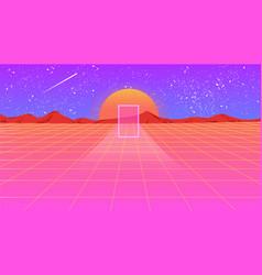 retro orange pink violet background 1980s style vector image