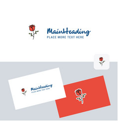 rose logotype with business card template elegant vector image