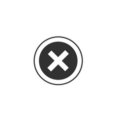 Round delete icon cross sign in circle can be vector
