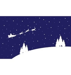 Santa on the sky with train landscape vector image