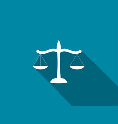 scales of justice flat icon with long shadow vector image