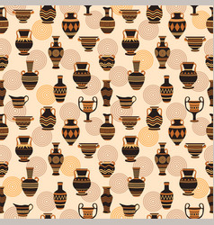 seamless pattern with ancient greek vases vector image