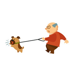 Senior old man walking with angry dog domestic vector