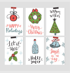 set christmas cards templates with hand drawn vector image