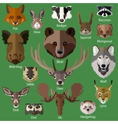 set forest animals faces isolated icons vector image