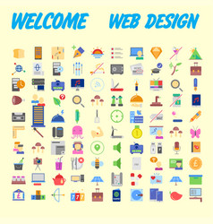 Set of 100 flat web icons on following themes vector