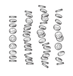 set of coins falling in different perspective vector image