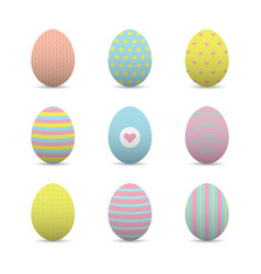 set of colorful realistic easter eggs vector image