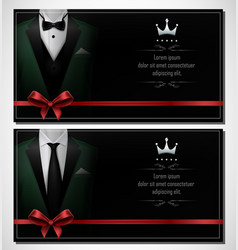 Set of green tuxedo business card templates and b vector