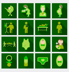 Set of medical health care icons in flat style vector