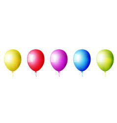 set of realistic colorful balloons isolated vector image