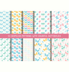 Set of seamless cute butterfly patterns vector