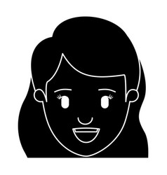 silhouette black front view face closeup woman vector image