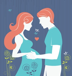 Silhouette of pregnant woman and her husband vector