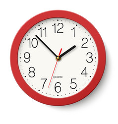 simple classic red round wall clock isolated vector image
