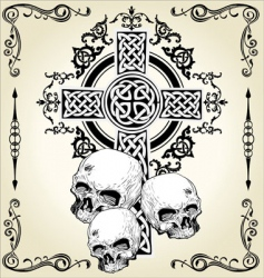 Skull cross tattoo vector