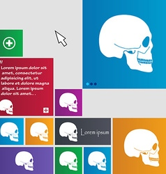Skull icon sign buttons Modern interface website vector image