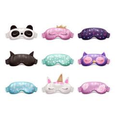 Sleeping mask realistic set vector
