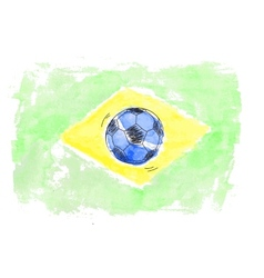 Soccer ball and flag of Brasil vector