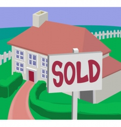 Sold house vector