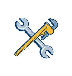 Spanner Monkey Wrench Crossed Isolated Cartoon vector
