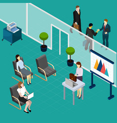 Staff training office isometric composition vector