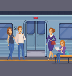 Subway underground station passengers cartoon vector