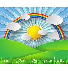 sunlight on cloud with rainbow over glass vector image