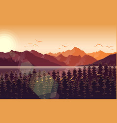 sunset in mountain landscape with forest and river vector image