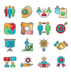 teamwork collaboration line icons set vector image