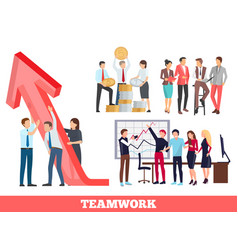 Teamwork growth and success vector