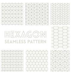 Thin line hexagon vector