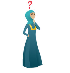 Thinking business woman with question mark vector