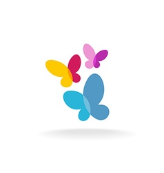 Three butterfly logo vector