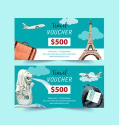 Tourism voucher design with eifel tower merlion vector