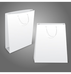 Two realistic white blank paper bags Isolated on vector