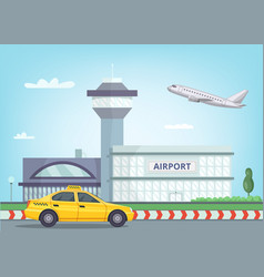 Urban background with airport building airplane vector