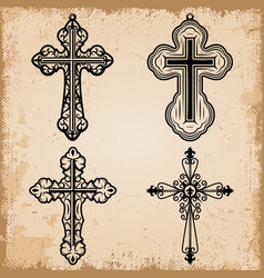 Vintage decorative religious crosses set vector