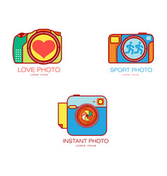 wedding sport instant photography logo templates vector image