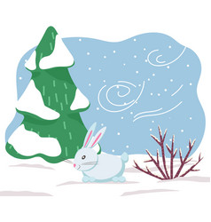 Winter white hare or rabbit wild animal in forest vector