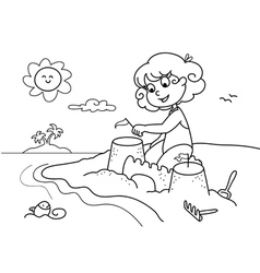 Coloring young girl at the beach vector image