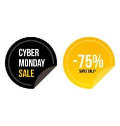 Cyber monday super sale round stickers vector image vector image