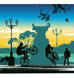 evening cyclist vector image vector image