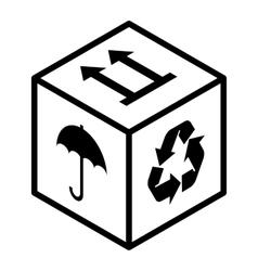 Fragile box sign vector
