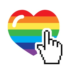 Gay symbol - rainbow heart with cursor hand icon vector image vector image