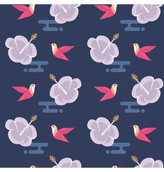 seamless pattern with flowers and hummingbirds vector image