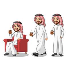 set of businessman saudi arab man making a break vector image vector image