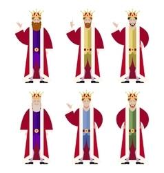 Set of flat king ikons vector image vector image